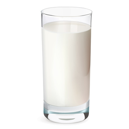 Glass of milk isolated on white. Vector illustration  Иллюстрация