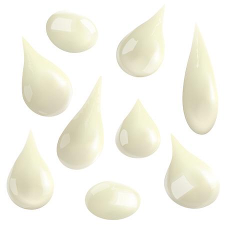 白い背景に分離したミルクの滴。ベクトル図  イラスト・ベクター素材