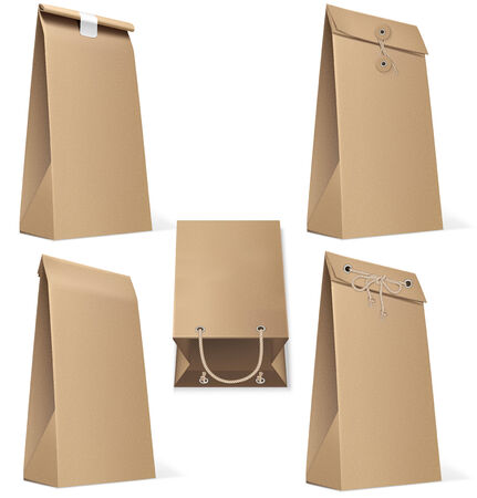 chipboard: Set of paper bag isolated on white. Vector Illustration
