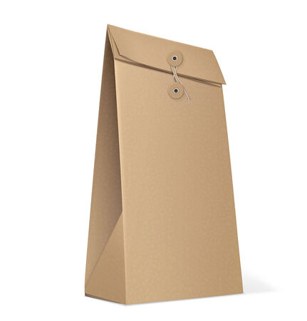 coffee sack: Paper Bag isolated on white. Vector Illustration