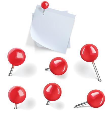 pushpins: Conjunto de chinchetas rojas y espacios en blanco de papel blanco con pasadores en el fondo blanco. Ilustraci�n vectorial