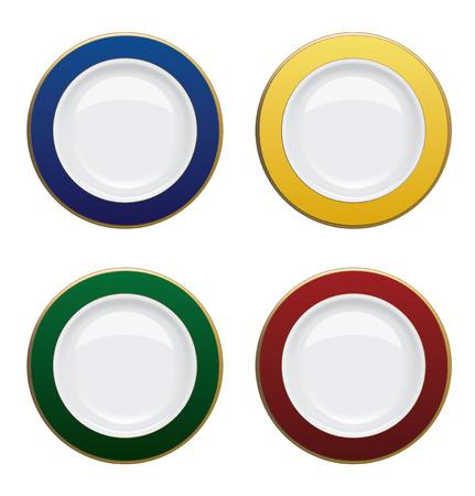felgen: Bunte Teller mit Goldrand auf wei�em Hintergrund. Vektor-Illustration
