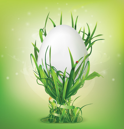 Easter egg and egg cup of grass. Vector illustration Vector
