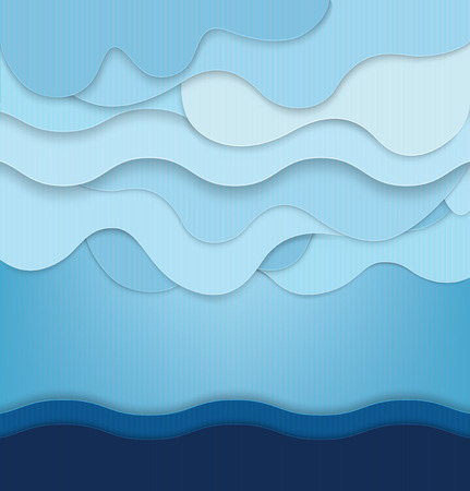 Abstract blue background with clouds and waves Vector