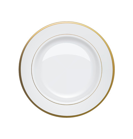 White plate with gold rims on white background  Vector illustration