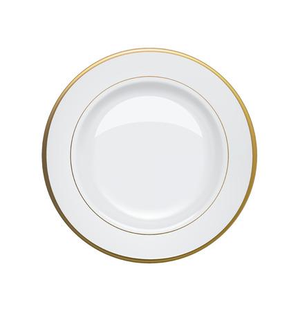 Witte plaat met gouden velgen op witte achtergrond Vector illustratie Stock Illustratie