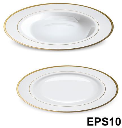Piatti bianchi vuoti con cerchi in oro isolato su bianco illustrazione vettoriale Archivio Fotografico - 28128700