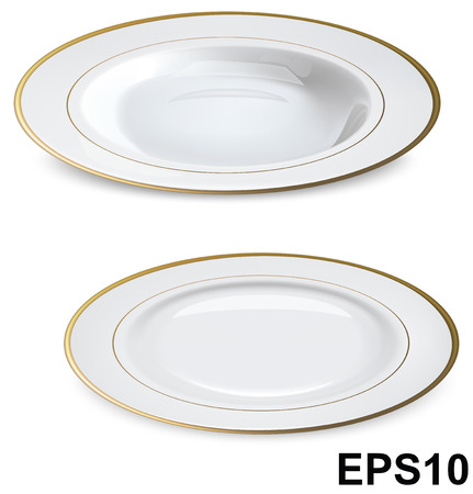 Empty white plates with gold rims isolated on white  Vector illustration