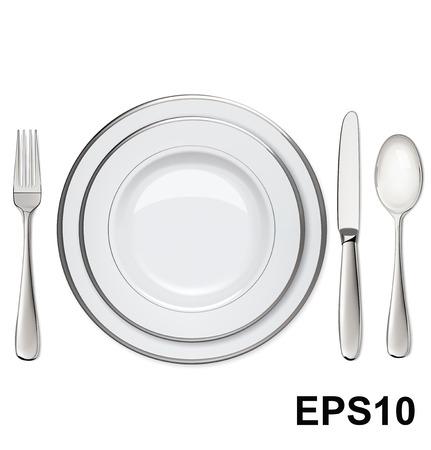 Piatti vuoti con cerchi in argento, cucchiaio, forchetta, coltello isolato su bianco illustrazione vettoriale Vettoriali