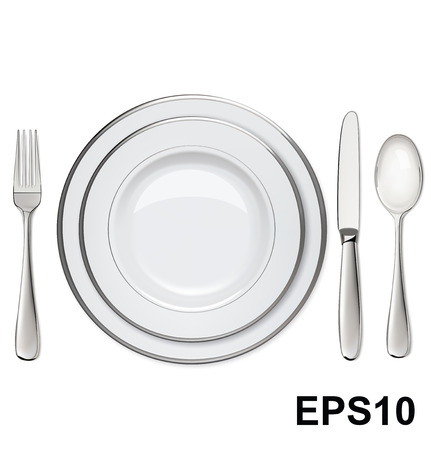 Empty plates with silver rims, spoon, fork, knife isolated on white  Vector illustration Illustration