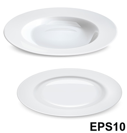 Empty plates isolated on white  Vector illustration