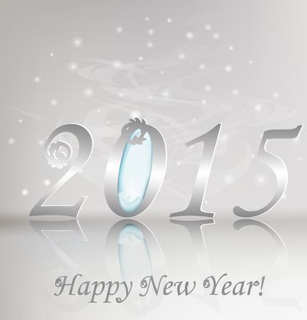 frohes neues jahr: New 2015 Jahre-Gru�kartenillustration