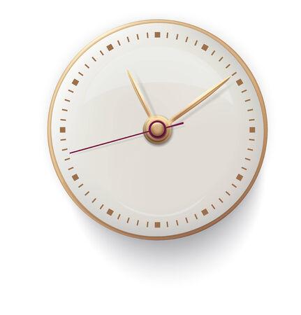 gold watch: Clock on white background illustration