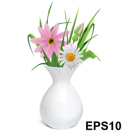 Vase with flowers  Vector illustration