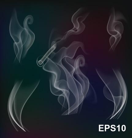 evaporacion: Blanco colección vapor transparente sobre fondo oscuro Ilustración vectorial