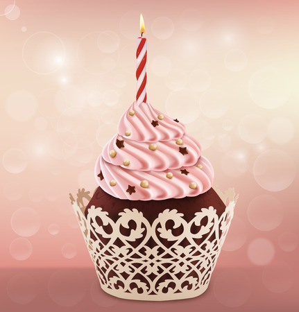 Birthday cupcake isolated on white. Vector illustration