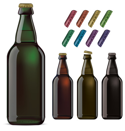 metall and glass: Beer bottles isolated. Vector illustration Illustration