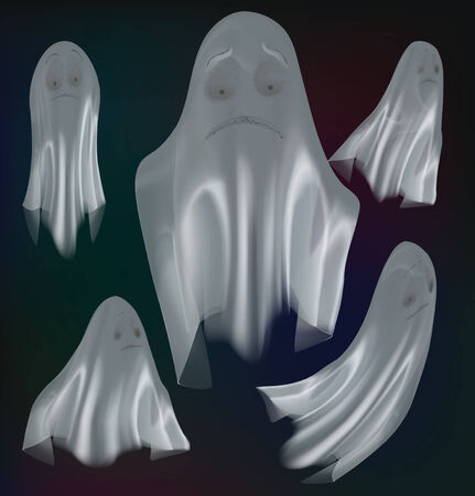 Set of ghosts isolated on background. Vector illustration