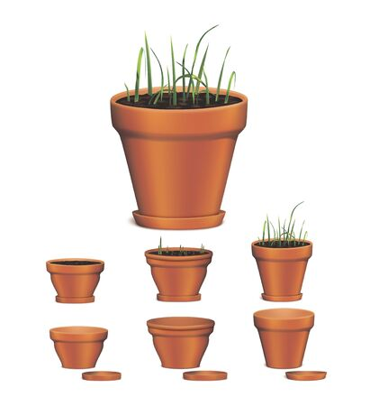 flowerpots: Flowerpots on white background. Vector illustration