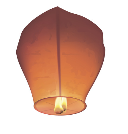 Chinese wish lanterns. Vector illustration