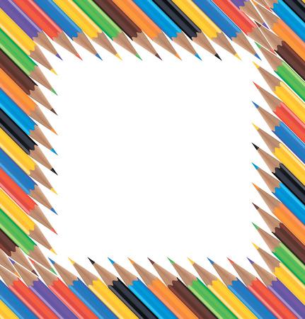 colour pencils: Frame of colored pencils. Vector illustration Illustration