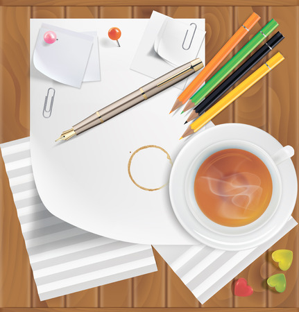 office buttons: Colored pencils, pushpins, paper clips, paper sheets, tea, coffee, caramel on a wooden surface. Vector illustration
