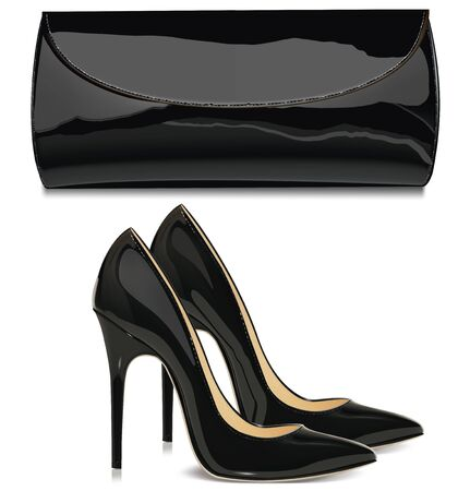 patent: Pair of black patent leather female high-heeled shoes and   bag. Vector illustration