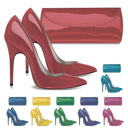 Pairs of patent leather female high-heeled shoes and mini bags. Vector illustration Illustration