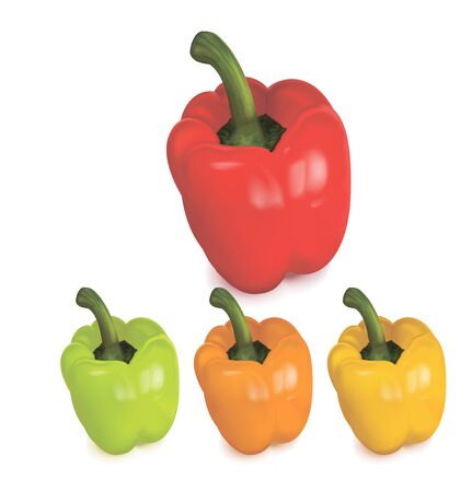 peper: Colored peppers over white background. Vector illustration Illustration