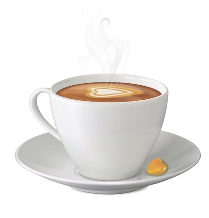 hot cup: Cup of hot cappuccino with steam, sweety and saucer on white background. Vector illustration