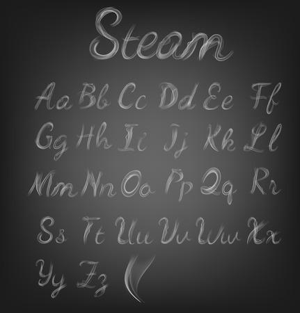 蒸気のアルファベット。ベクトル図  イラスト・ベクター素材