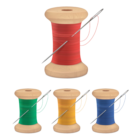 Spools of thread with needle isolated on white. Vector illustration