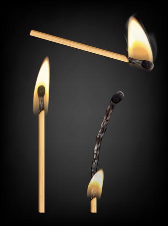 pyromania: Burning and burnt match sticks on black background. Vector illustration Illustration