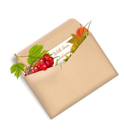 """sobres de carta: Sobre """"Con amor, otoño"""" con Viburnum y hojas. ilustración vectorial"""