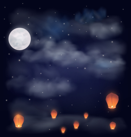 dark clouds: Night sky with the moon, stars and chinese wish lanterns. Vector illustration