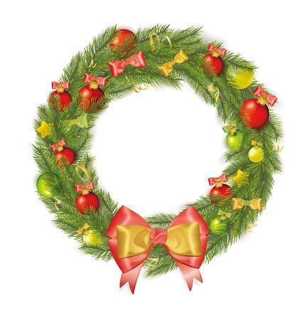 moños de navidad: Corona de Navidad con arcos, las flámulas, estrellas, bolas de Navidad. Ilustración del vector Vectores