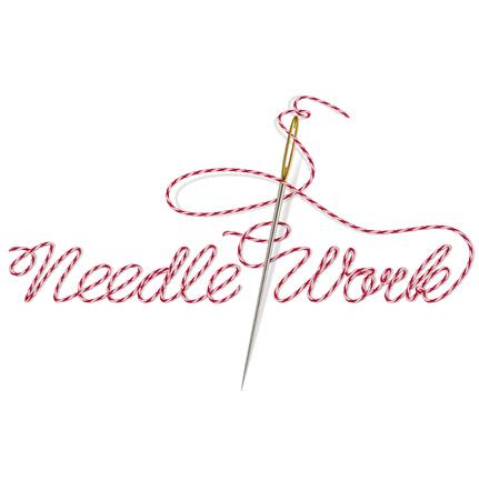 Sewing Nadel mit roter Faden Needle Work. Vektor-Illustration Vektorgrafik