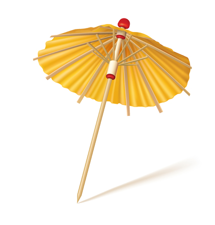 Cocktail yellow umbrella isolated on a white background. Vector illustration