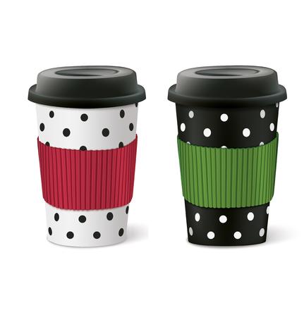 speck: Paper cups. Vector illustration