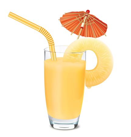 Glass of pineapple juice and fresh pineapple, umbrella, tube. Vector illustration