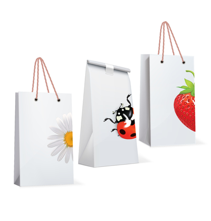 Paper Bags isolated on white. Vector Illustration