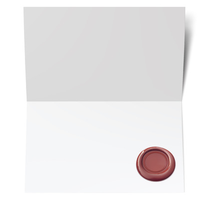 Blank white paper with red wax seal. Vector illustration Illustration