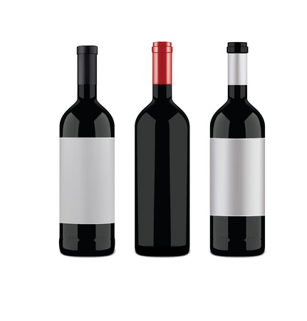 Wine bottles on a white background. Vector illustration