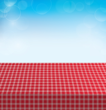 Picnic table covered with checkered tablecloth. Ilustracja