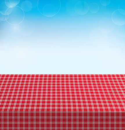 Picnic table covered with checkered tablecloth. Vector illustration Ilustracja