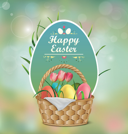Basket with Easter eggs, tulips and blades of grass. Easter background vector illustration.