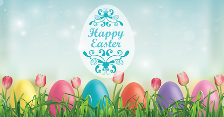 Easter background, Easter eggs, tulips and blades of grass vector illustration.