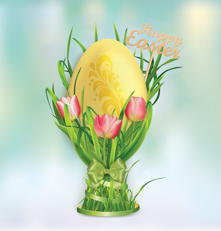 Easter egg and egg cup of grass and tulips. Vector illustration.