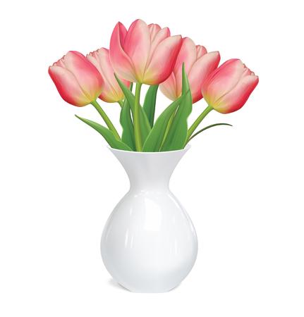 Tulips flowers in white vase on white background. Vector illustration.
