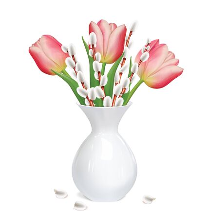 Willow twigs, tulips in white vase. Vector illustration Ilustrace